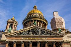Saint Isaac`s Cathedral, ornate religious edifice with gold dome - Saint Petersburg, Russia. Saint Isaac`s Cathedral, ornate religious edifice with gold dome in royalty free stock photography