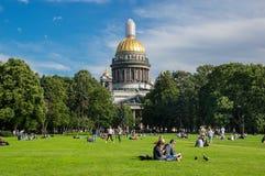 Saint Isaac`s Cathedral. SAINT- PETERSBURG, RUSSIA - JULY 10, 2016: Saint Isaac`s Cathedral or Isaakievskiy Sobor in Saint Petersburg, Russia, is the largest Stock Photography