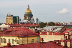 Saint Isaac`s Cathedral and red roofs in Saint Petersburg, Russia Royalty Free Stock Photography