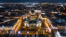 Saint Isaac`s Cathedral in Saint Petersburg Aerial View Stock Photo