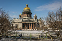 Saint Isaac's Cathedral, Saint Petersburg. A view to the Saint Isaac's Cathedral from the Square of the same name in Saint Petersburg, Russia Stock Photography