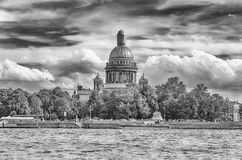 Saint Isaac's Cathedral seen from Neva River, St. Petersburg, Ru Stock Photos