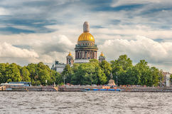 Saint Isaac's Cathedral seen from Neva River, St. Petersburg, Ru Royalty Free Stock Photo