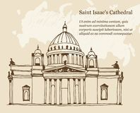 Saint Isaac`s Cathedral Sobor in Saint Petersburg, Russia  illustration on a beige background vector illustration