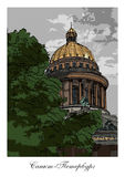 ST. PETERSBURG, RUSSIA: Saint Isaac's Cathedral. Hand drawn sketch, postcard vector illustration