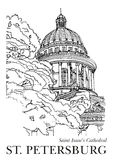ST. PETERSBURG, RUSSIA - Saint Isaac's Cathedral, Hand drawn sketch on paper. Architecture black white vector Stock Images