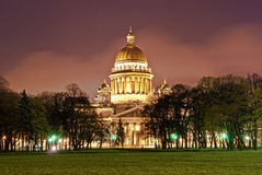 Saint Isaac's Cathedral in St. Petersburg. Night photo of a Saint Isaac's Cathedral in St. Petersburg Stock Photography
