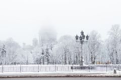 Saint Isaac`s cathedral in St. Petersburg, Russia on a snowy winters day. St. Petersburg in winter. Saint Isaac Cathedral in Saint Petersburg, Russia Royalty Free Stock Photography