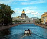 Saint Isaac's Cathedral. St.Petersburg. View of St. Isaac's Cathedral from the river Moika Royalty Free Stock Photography