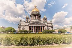Saint Isaac's Cathedral in St. Petersburg, vintage processing Stock Image