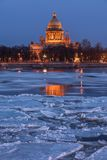 Saint Isaac's Cathedral at sunset, St. Petersburg Stock Photography