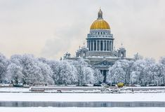 Saint Isaac`s Cathedral in winter, Saint Petersburg, Russia Royalty Free Stock Photos