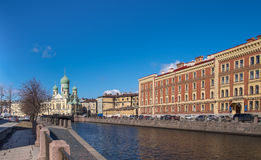 Saint Isidor`s Church on Griboyedov channel in St. Petersburg Stock Photography