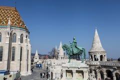 Saint Istvan statue in Fisherman's bastion in Budapest Stock Photos