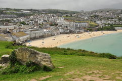 Saint Ives sand beach, Cornwall, England, UK. British summer resort and sand beach, St Ives, North Cornwall, England, Britain Stock Images