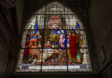 Saint Jacques church, Compiegne, Oise, France. COMPIEGNE, FRANCE, JULY 16, 2016 : stained glass and details of saint Jacques church, july 16, 2016 in Compiegne royalty free stock photos