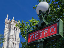 Saint Jacques Tower and Metro Paris France Stock Photography