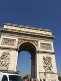 Saint Jacques tower. View of the Triumphal arch in Paris from the traffic jam Royalty Free Stock Photography
