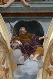 Saint James the Apostle. Fresco painting in the St Nicholas Cathedral in Ljubljana, Slovenia royalty free stock images