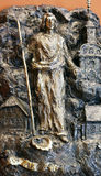 Saint James. Bass relief in Chapel of Saint Dismas in Zagreb, Croatia royalty free stock images