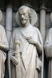 Saint James the Great. Notre Dame Cathedral, Paris, Last Judgment Portal royalty free stock photo