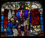 Saint James the Great. Stained glass window depicting Saint James the Great in the cathedral of Leon, Castille and Leon, Spain. James, son of Zebedee, was one of royalty free stock images