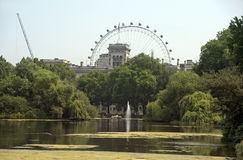 Saint James park and London Eye, London Stock Image