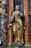Saint James. Statue on altar in the Baroque Church of Our Lady of the Snow in Belec, Croatia stock image