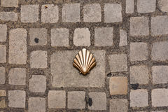 Saint james shell symbol. Saint james way shell symbol on the street surface in Perigueux France Royalty Free Stock Images