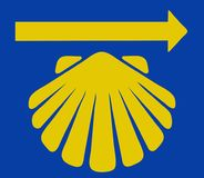 Saint James shell with yellow arrow. Saint James' shell, the sign for the pilgrimage of the Way of Saint James (Camino de Santiago) with yellow arrow on blue royalty free illustration