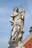 Saint James. Statue, Plague column at Main Square of the city of Maribor in Slovenia, Europe. Historical religious sculpture royalty free stock image
