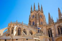 Saint James Way da fachada da parte traseira da catedral de Burgos imagem de stock