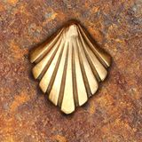 Saint James way shell golden metal on streets Royalty Free Stock Image