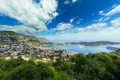 Saint Jean Cap Ferrat, city and mountains, Côte d'Azur, France Royalty Free Stock Image