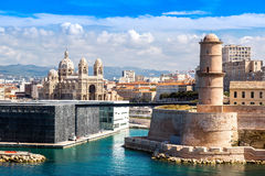 Saint Jean Castle and Cathedral de la Major  in Marseille Royalty Free Stock Photos