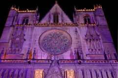 Saint Jean cathedral facade (Lyon France). The gothic Saint Jean cathedral facade is illuminated for light fest, in December Stock Photos