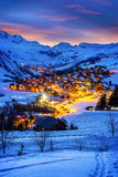 Saint-Jean d'Arves, alps, France. Evening landscape and ski resort in French Alps,Saint jean d'Arves, France Royalty Free Stock Photo