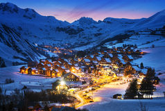 Saint-Jean d'Arves, alps, France. Evening landscape and ski resort in French Alps,Saint jean d'Arves, France Stock Photo