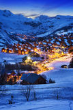 Saint-Jean dArves, alps, France. Evening landscape and ski resort in French Alps,Saint jean dArves, France Royalty Free Stock Photography