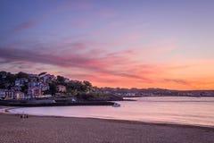 Saint Jean de Luz beach at sunset Stock Photos