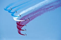 Saint-Jean-de-Luz, France, October 3, 2015 Famous demonstration. Of French Air force, Alpha jets of Patrouille de France in full formation in the sky of Saint Stock Images
