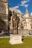 Saint Jean-Paul II Bronze Statue at Notre Dame, Paris France Royalty Free Stock Photo