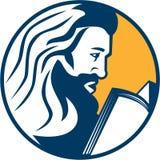 Saint Jerome Reading Bible Retro ilustração do vetor