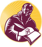 Saint Jerome Writing Scroll Retro Woodcut Royalty Free Stock Photo