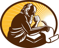 Saint Jerome Writing Scroll Retro Woodcut Stock Photo