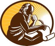 Saint Jerome Writing Scroll Retro Woodcut Stock Photo