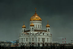 Saint Jesus Savior Cathedral in Moscow with dramatic skies behin Royalty Free Stock Photo