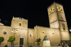 Saint John Baptist Cathedral at night, Badajoz, Spain Royalty Free Stock Image