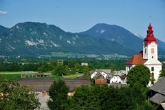 Saint John the Baptist Church Zasip in front of mountain panorama royalty free stock photos
