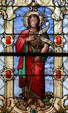 Saint John the Baptist. Stained glass church window Stock Images